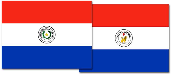 Anverso y reverso de la bandera de Paraguay