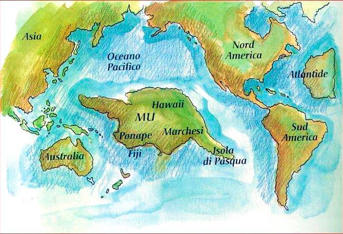 Mapa de situación del continente Mu
