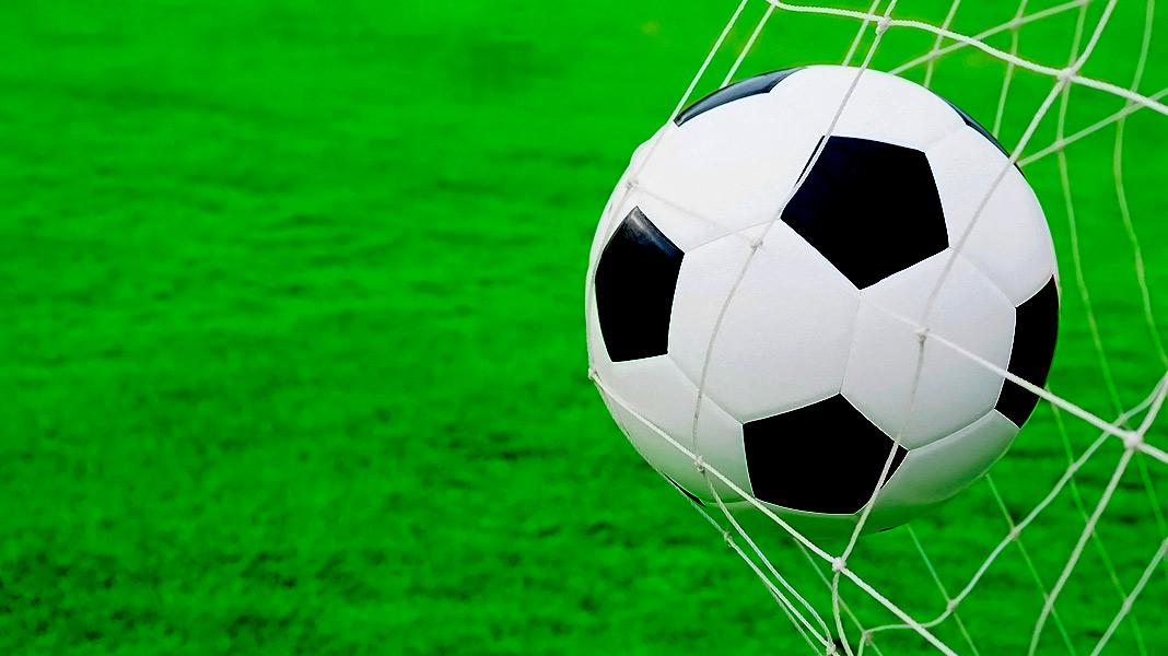 balón de fútbol empotrado en la red de una portería